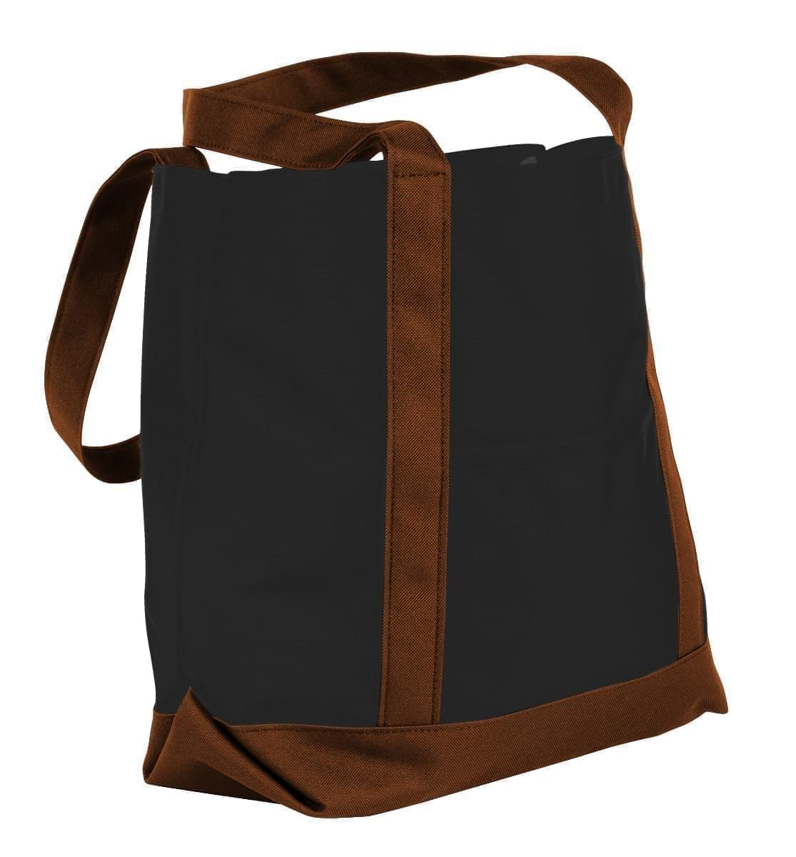 USA Made Canvas Fashion Tote Bags, Black-Brown, XAACL1UAHD