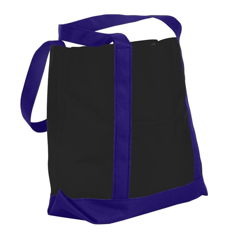 USA Made Canvas Fashion Tote Bags, Black-Purple, XAACL1UAHK