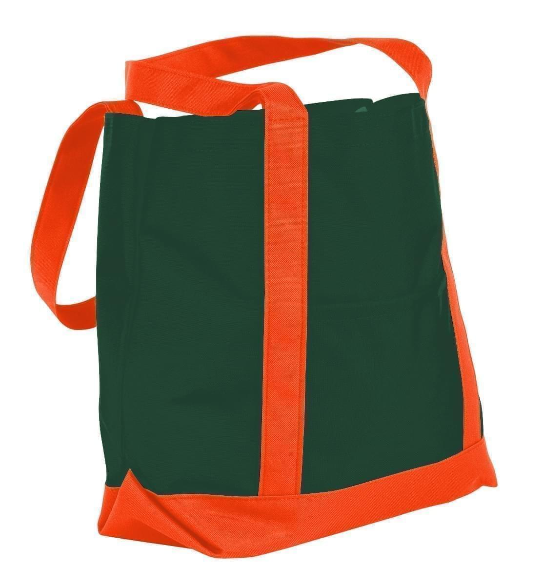 USA Made Canvas Fashion Tote Bags, Hunter Green-Orange, XAACL1UAIJ