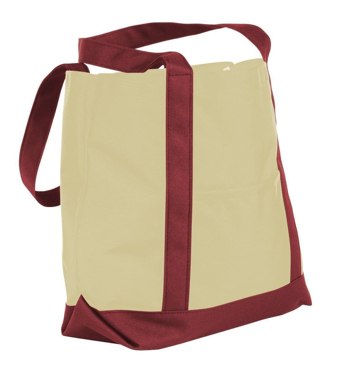 USA Made Canvas Fashion Tote Bags, Natural-Burgundy, XAACL1UAKE