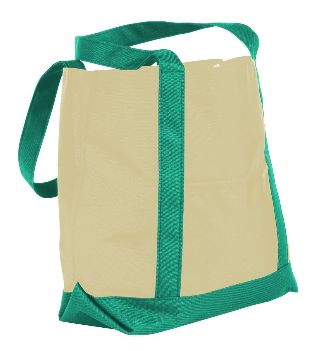 USA Made Canvas Fashion Tote Bags, Natural-Kelly Green, XAACL1UAKH
