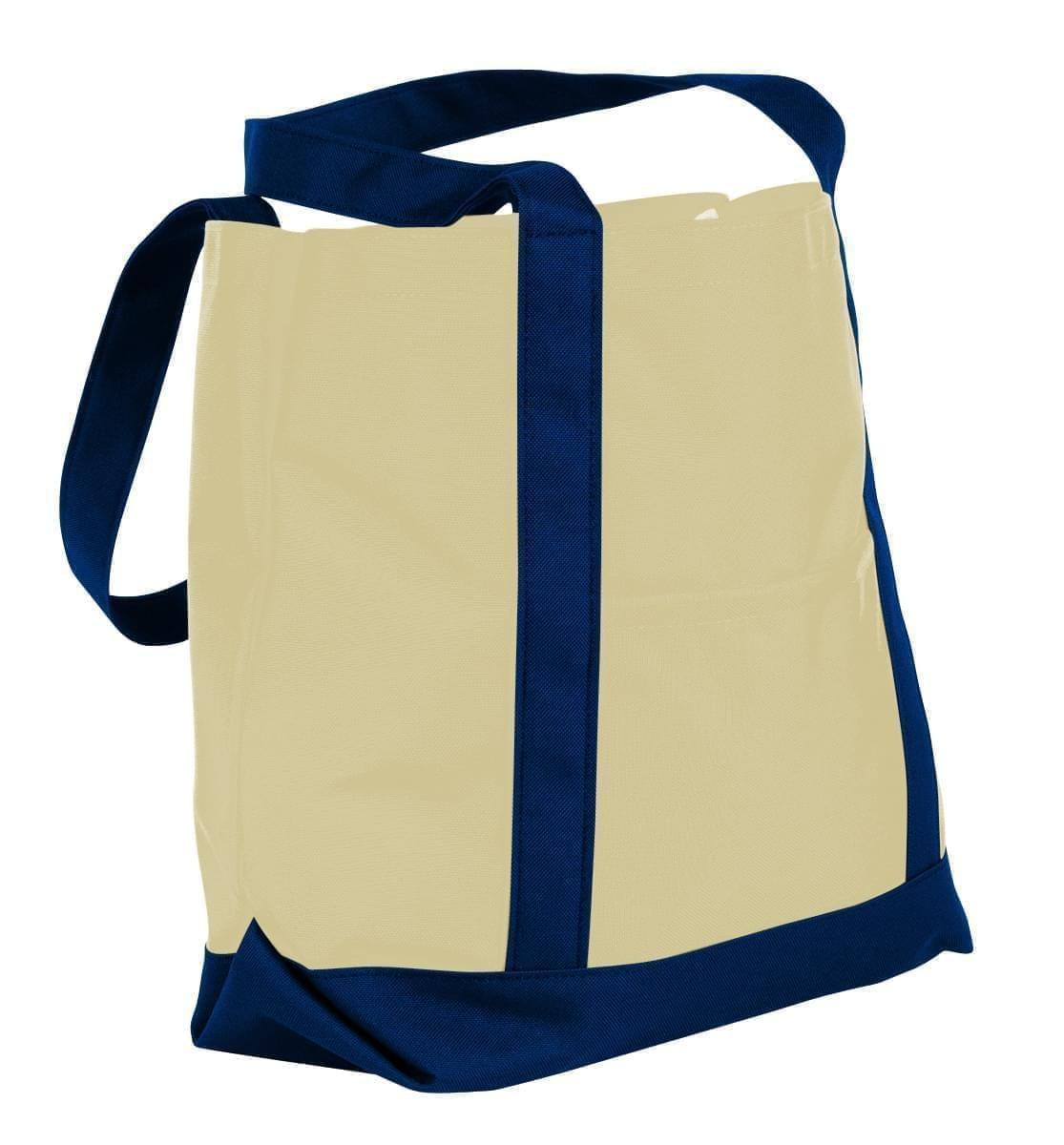USA Made Canvas Fashion Tote Bags, Natural-Navy, XAACL1UAKI