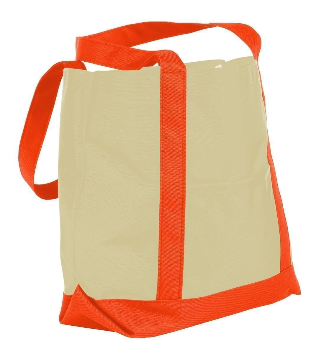 USA Made Canvas Fashion Tote Bags, Natural-Orange, XAACL1UAKJ