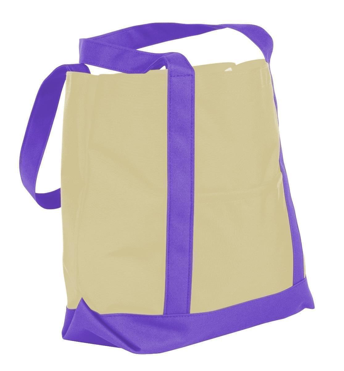 USA Made Canvas Fashion Tote Bags, Natural-Purple, XAACL1UAKK