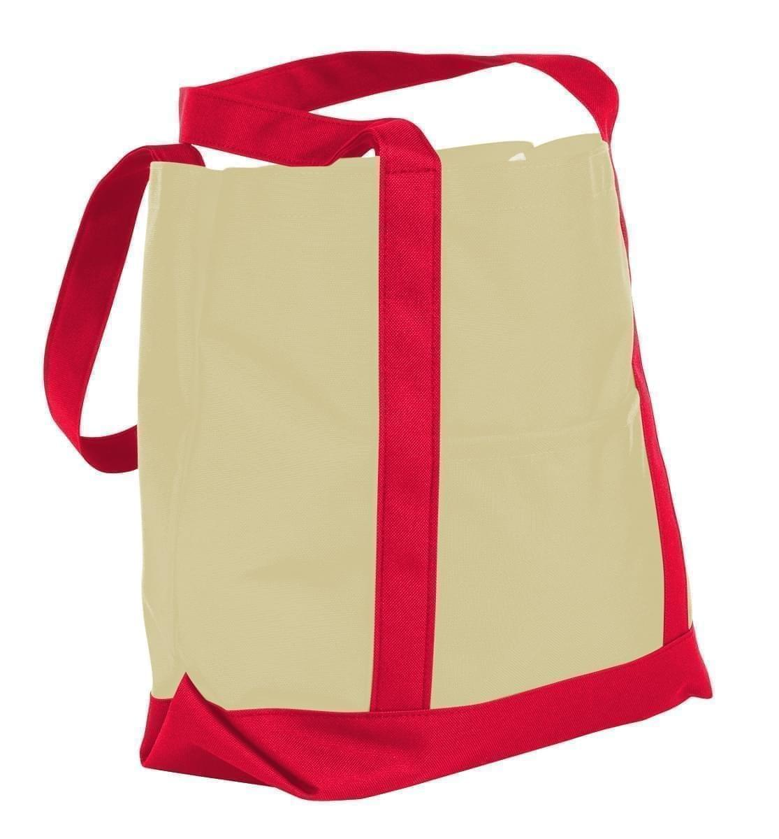 USA Made Canvas Fashion Tote Bags, Natural-Red, XAACL1UAKL