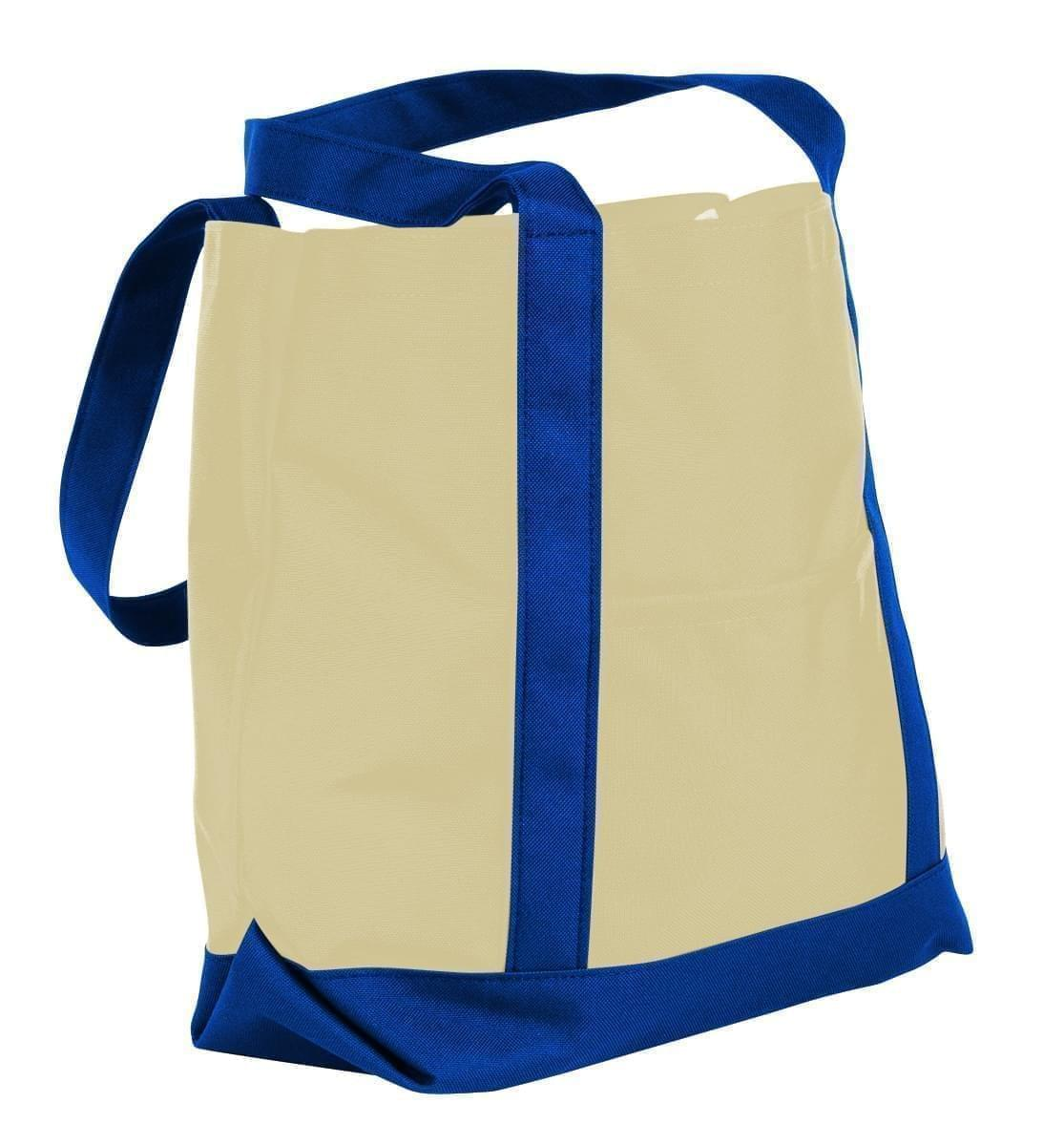 USA Made Canvas Fashion Tote Bags, Natural-Royal Blue, XAACL1UAKM
