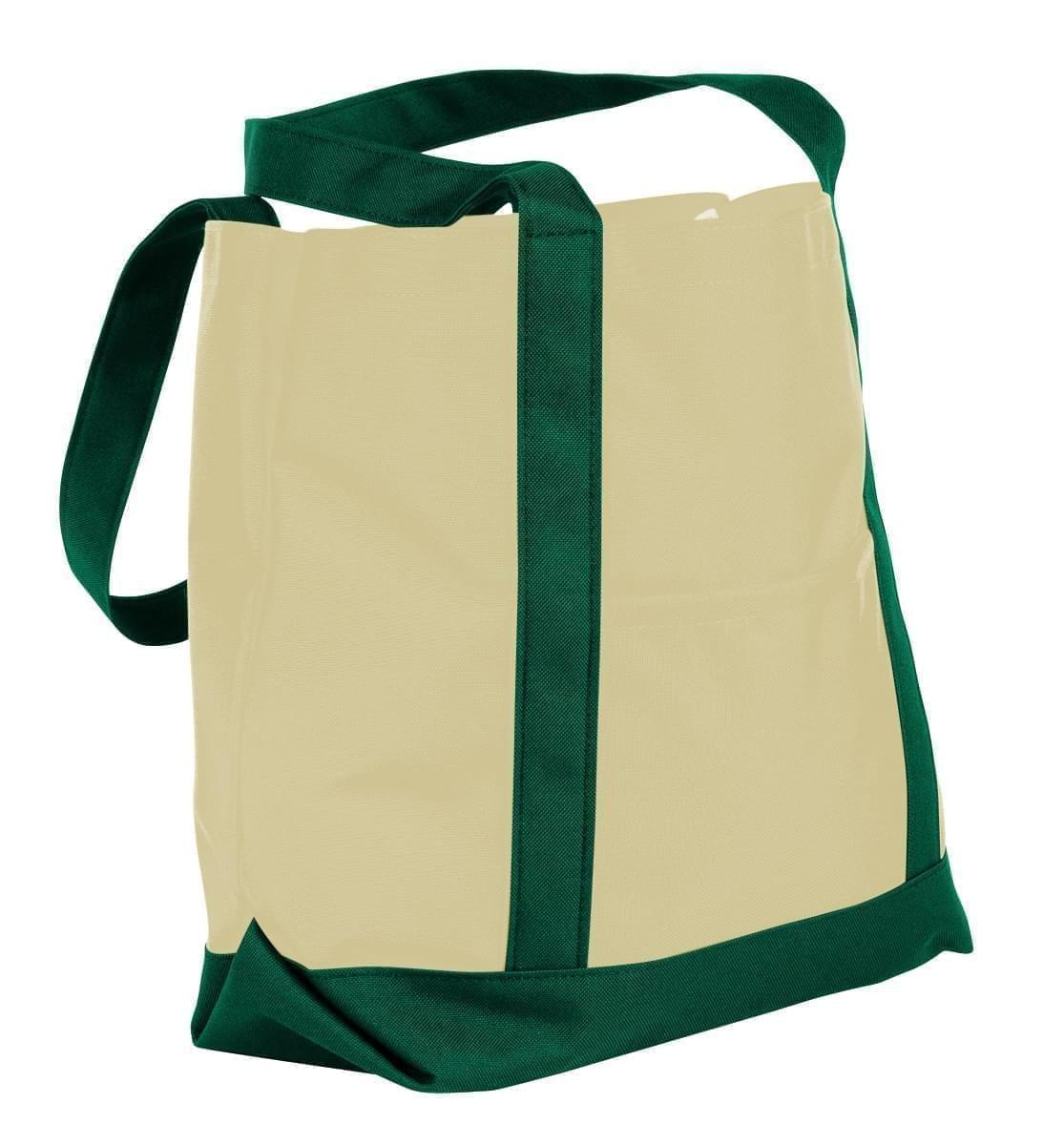 USA Made Canvas Fashion Tote Bags, Natural-Hunter Green, XAACL1UAKV