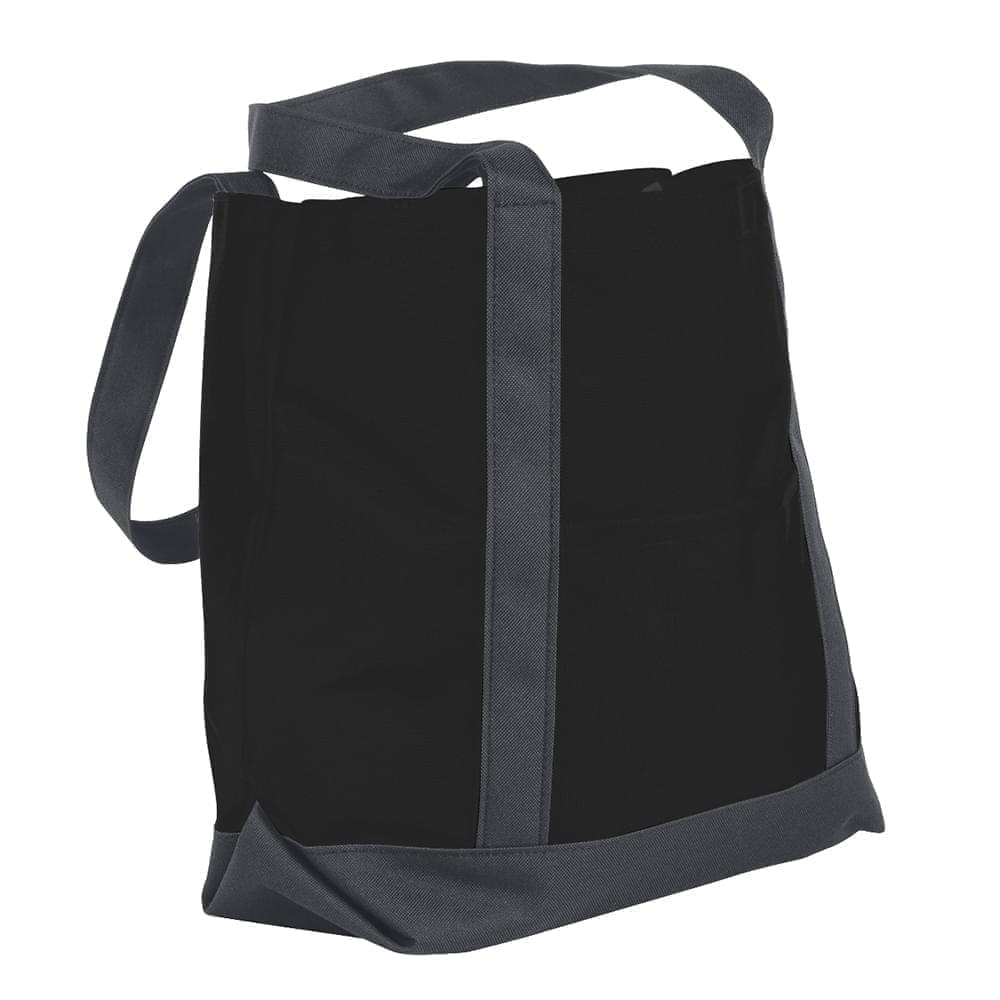 USA Made Nylon Poly Boat Tote Bags, Black-Graphite, XAACL1UAOF