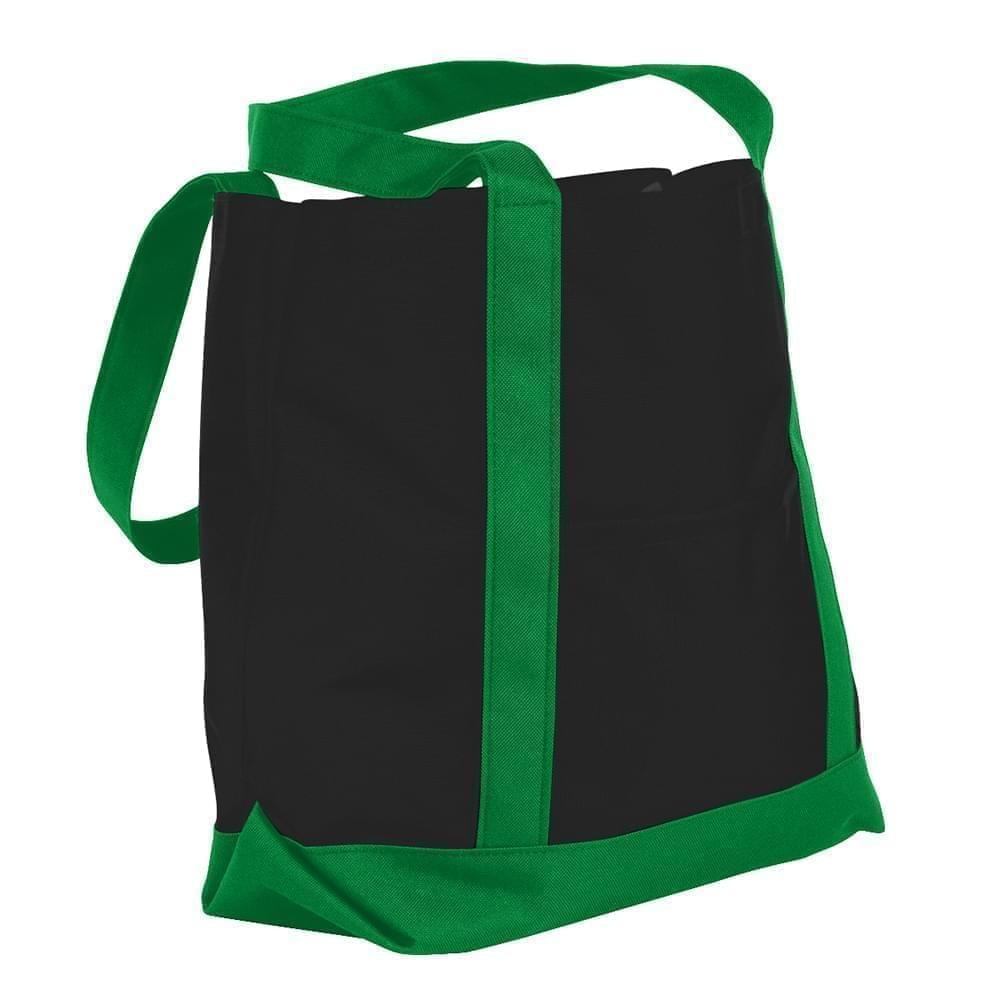 USA Made Nylon Poly Boat Tote Bags, Black-Kelly Green, XAACL1UAOH