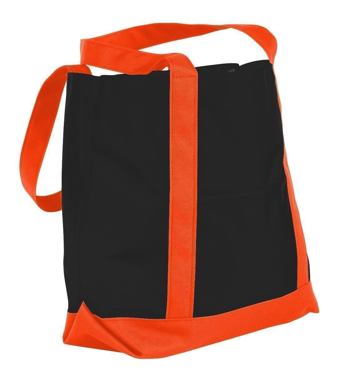 USA Made Nylon Poly Boat Tote Bags, Black-Orange, XAACL1UAOJ