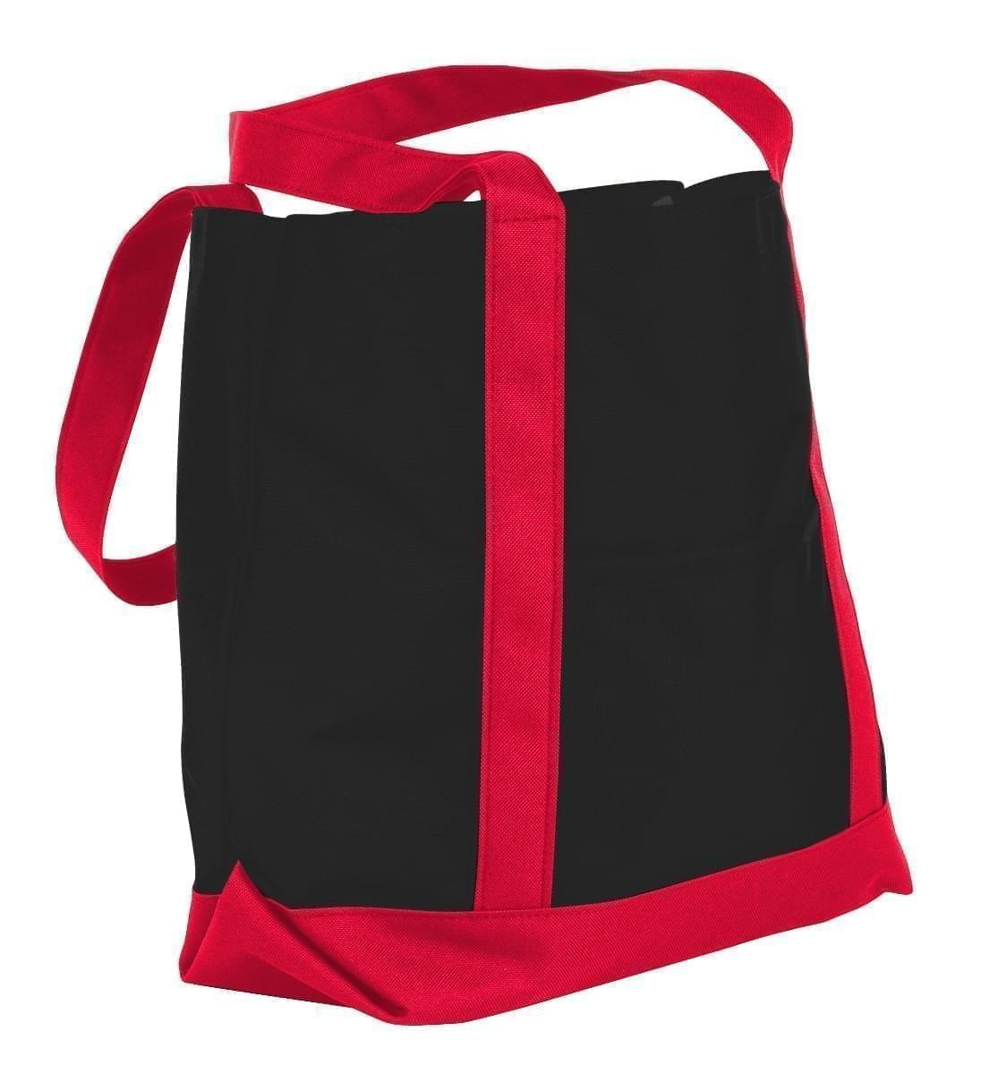 USA Made Nylon Poly Boat Tote Bags, Black-Red, XAACL1UAOL