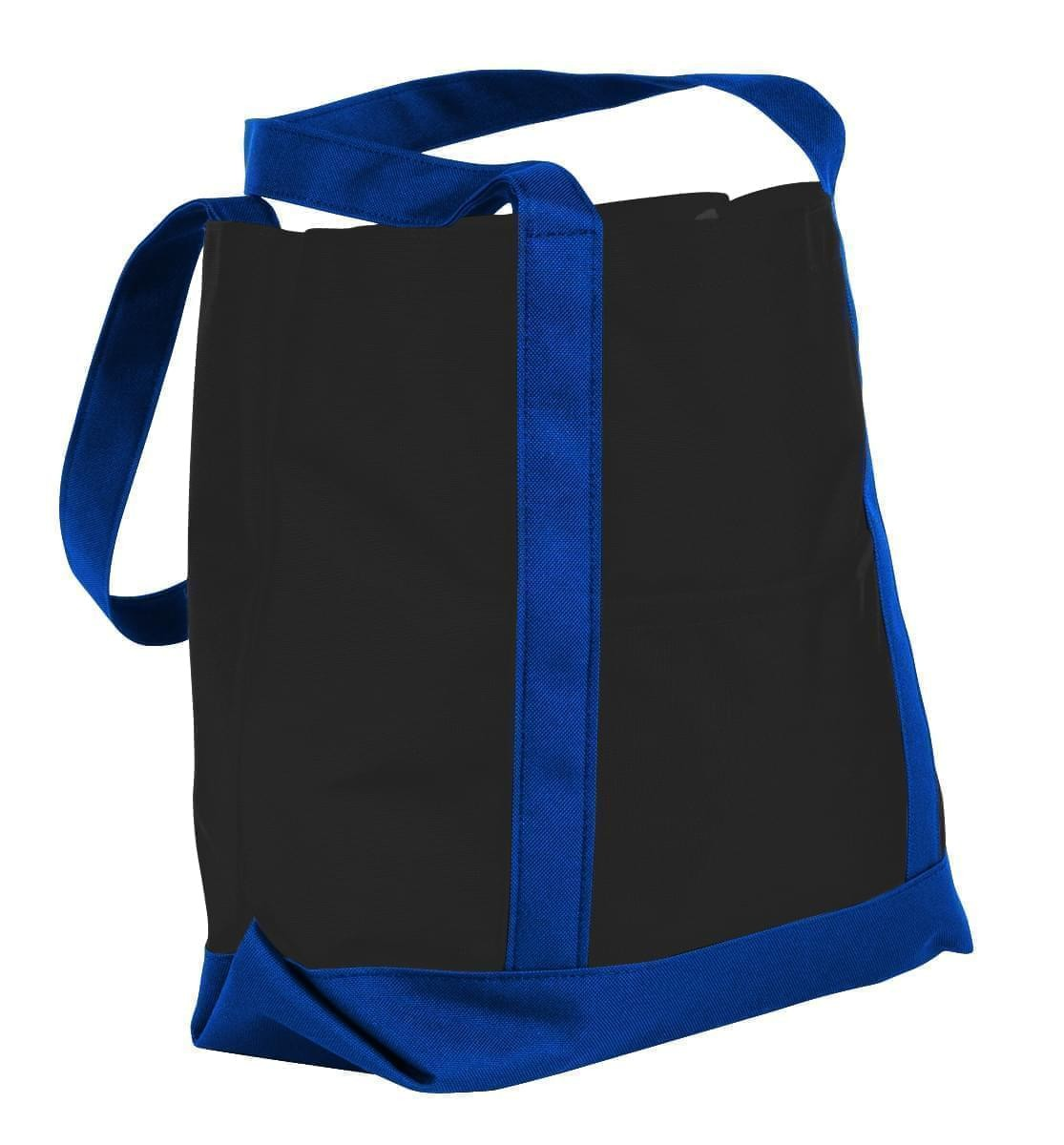 USA Made Nylon Poly Boat Tote Bags, Black-Royal Blue, XAACL1UAOM