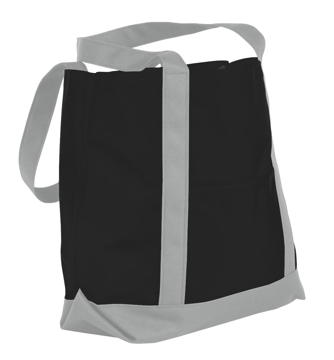 USA Made Nylon Poly Boat Tote Bags, Black-Grey, XAACL1UAON