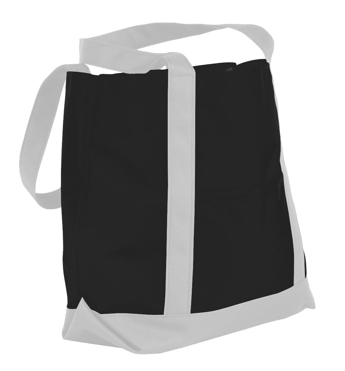 USA Made Nylon Poly Boat Tote Bags, Black-White, XAACL1UAOP