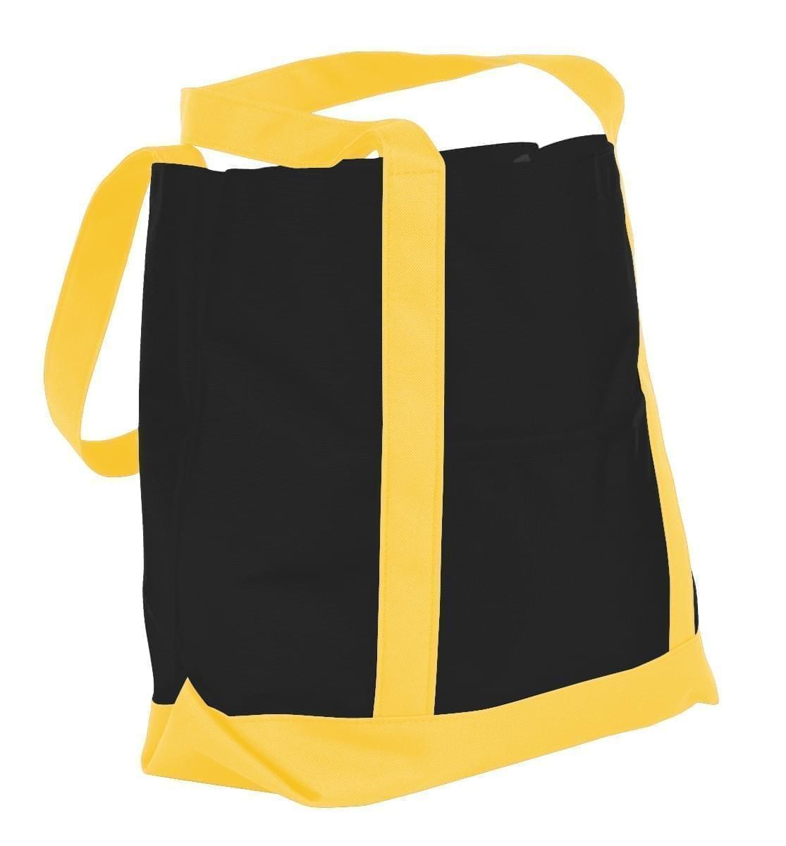 USA Made Nylon Poly Boat Tote Bags, Black-Gold, XAACL1UAOQ