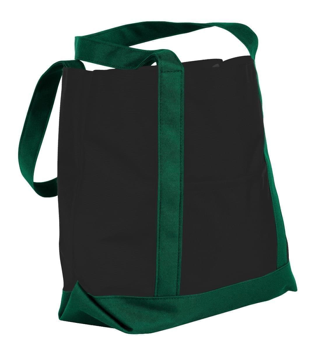 USA Made Nylon Poly Boat Tote Bags, Black-Hunter Green, XAACL1UAOV