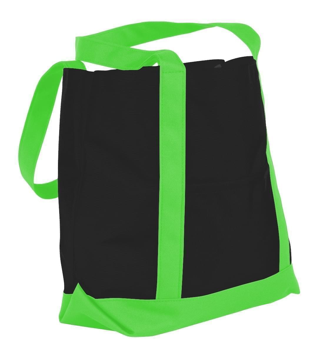 USA Made Nylon Poly Boat Tote Bags, Black-Lime, XAACL1UAOY