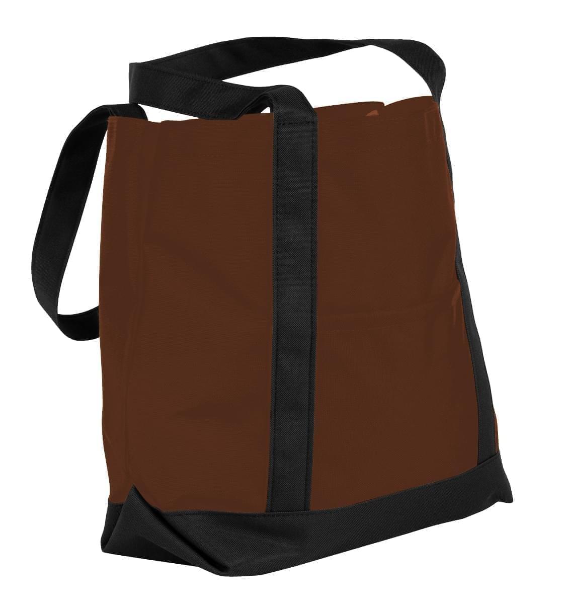 USA Made Nylon Poly Boat Tote Bags, Brown-Black, XAACL1UAPC
