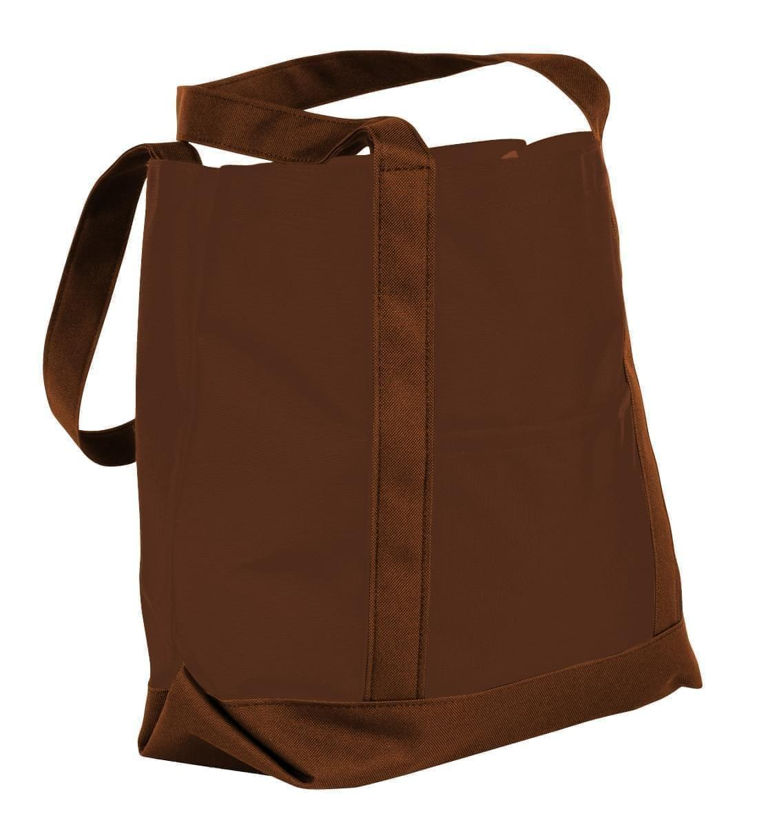 USA Made Nylon Poly Boat Tote Bags, Brown-Brown, XAACL1UAPD