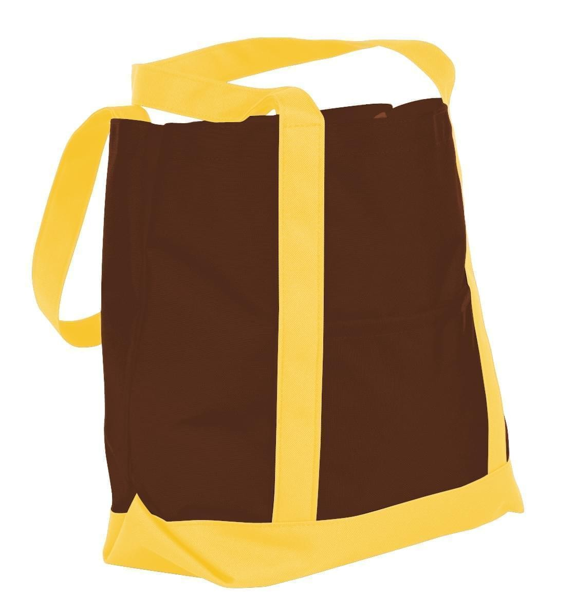 USA Made Nylon Poly Boat Tote Bags, Brown-Gold, XAACL1UAPQ