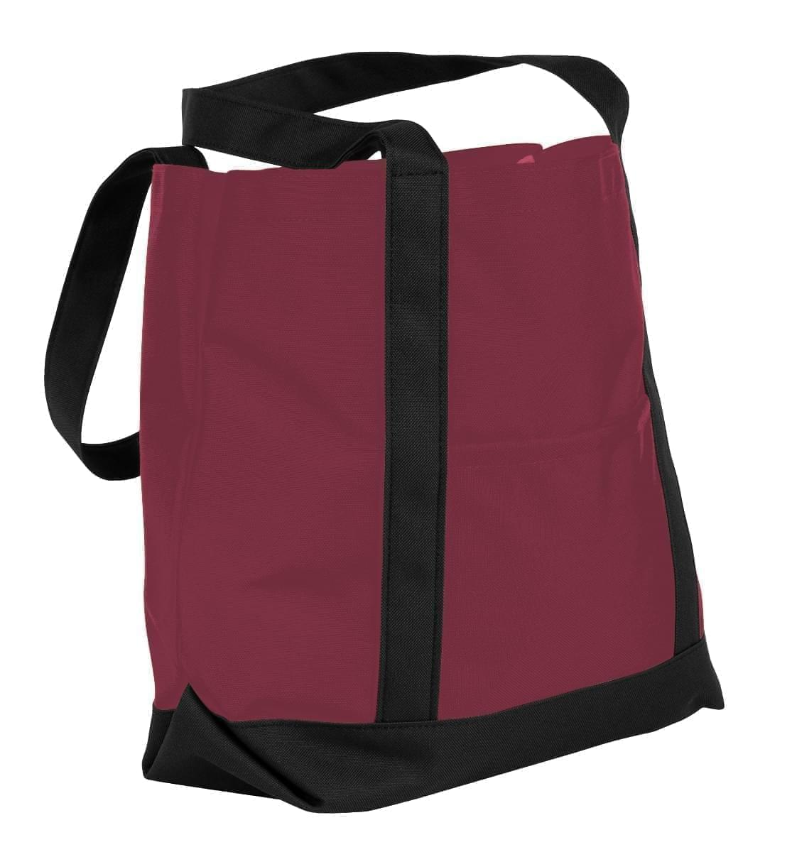 USA Made Nylon Poly Boat Tote Bags, Burgundy-Black, XAACL1UAQC