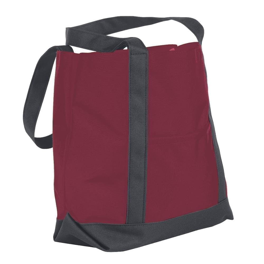 USA Made Nylon Poly Boat Tote Bags, Burgundy-Graphite, XAACL1UAQF