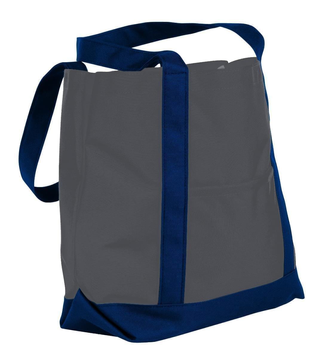 USA Made Nylon Poly Boat Tote Bags, Graphite-Navy, XAACL1UARI