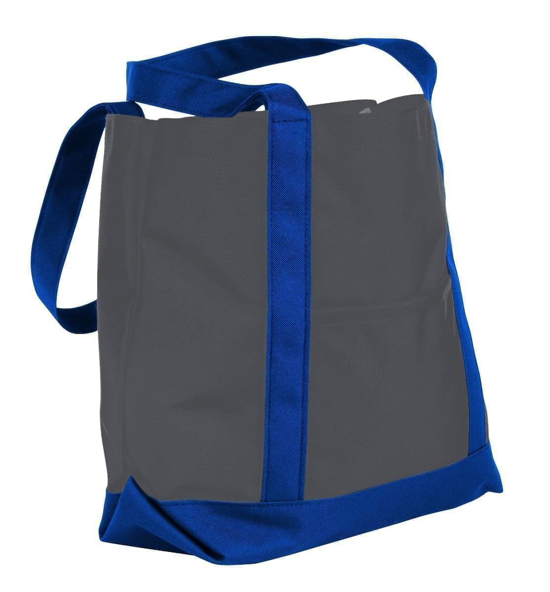 USA Made Nylon Poly Boat Tote Bags, Graphite-Royal Blue, XAACL1UARM