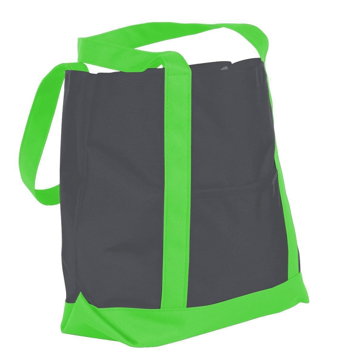 USA Made Nylon Poly Boat Tote Bags, Graphite-Lime, XAACL1UARY