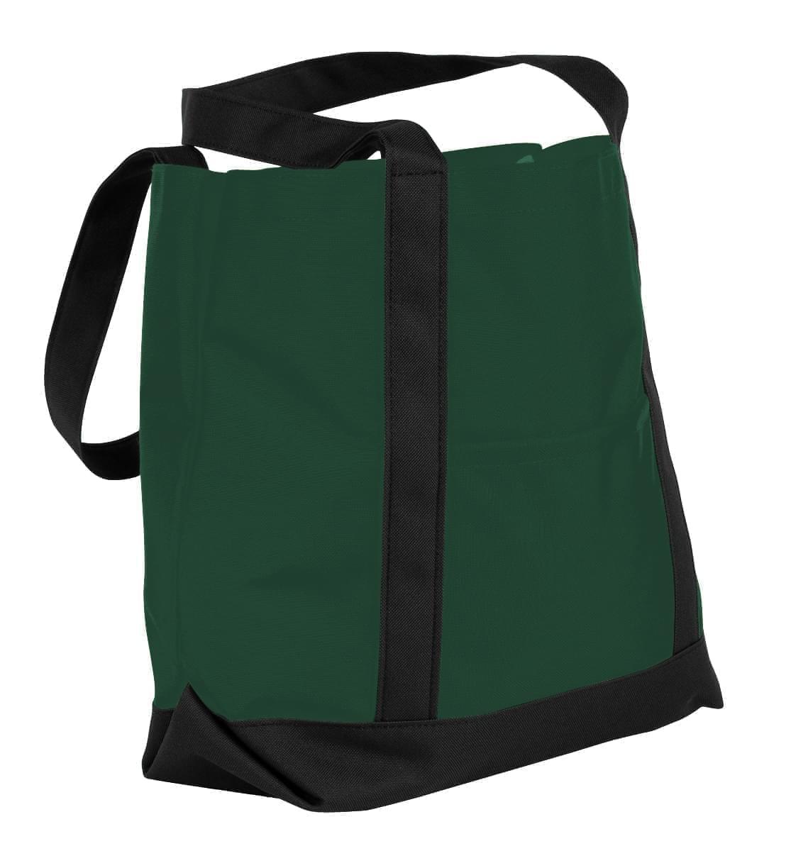 USA Made Nylon Poly Boat Tote Bags, Hunter Green-Black, XAACL1UASC