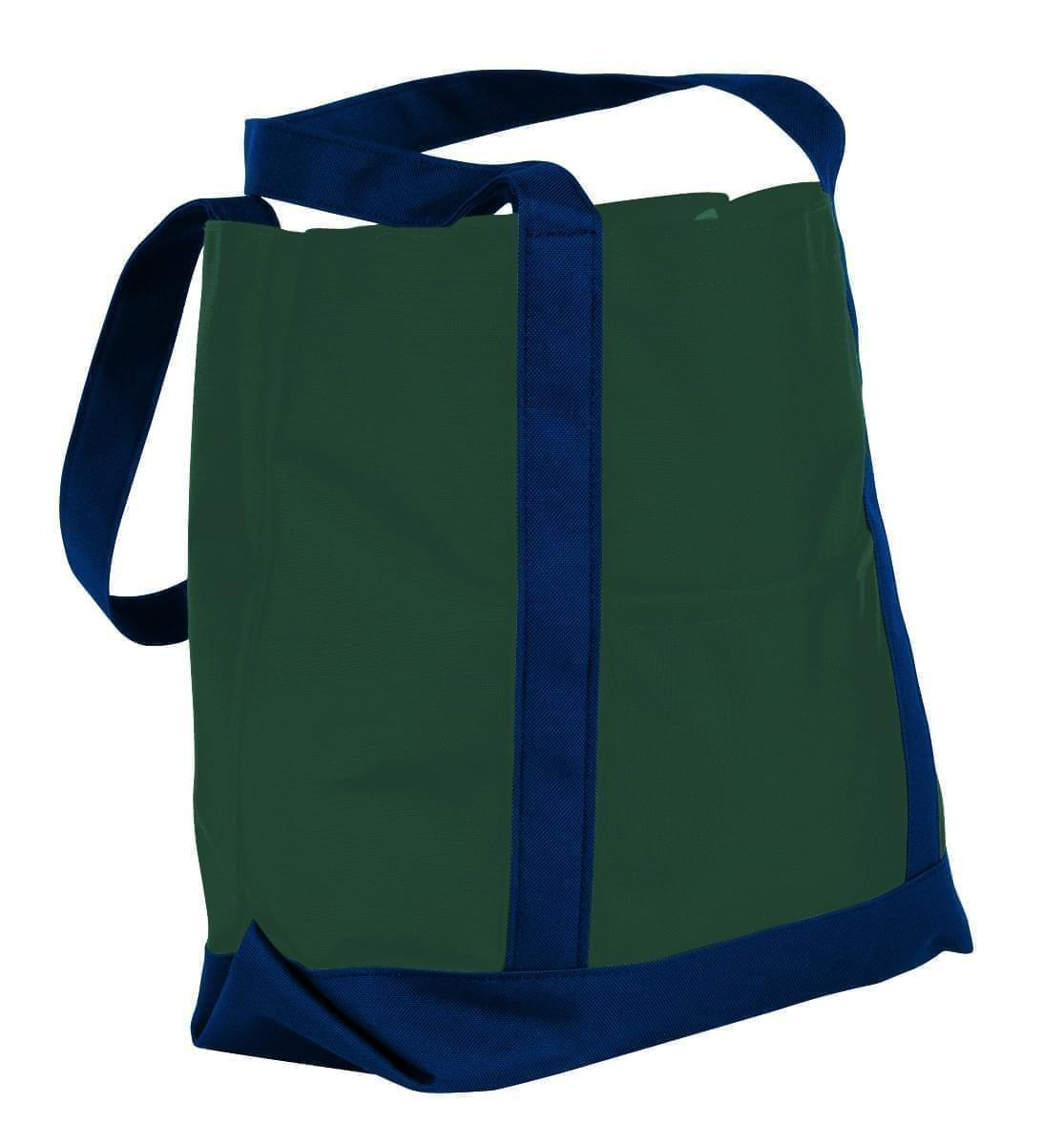 USA Made Nylon Poly Boat Tote Bags, Hunter Green-Navy, XAACL1UASI