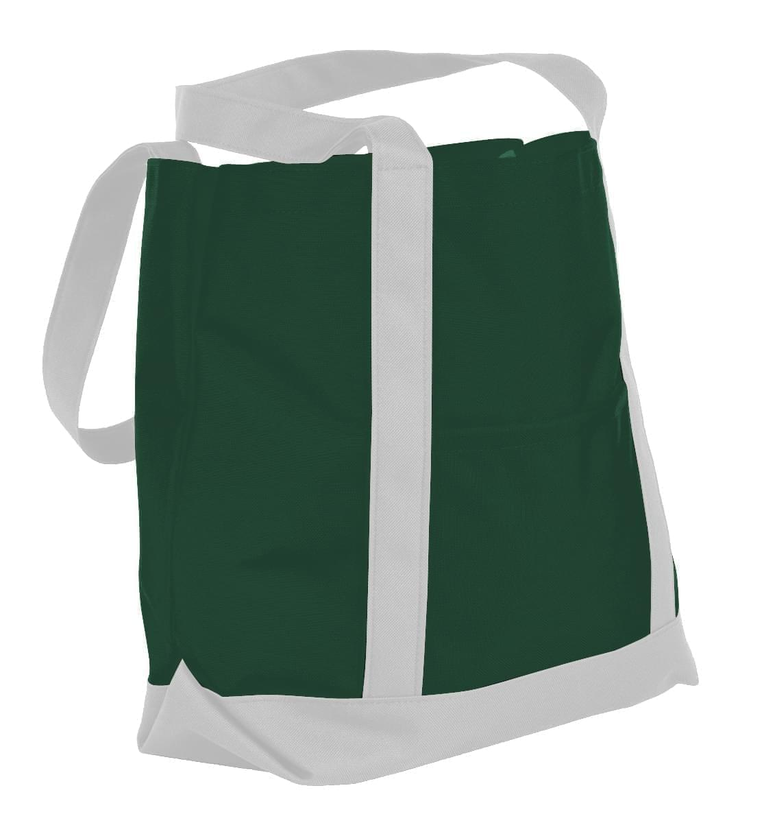 USA Made Nylon Poly Boat Tote Bags, Hunter Green-White, XAACL1UASP