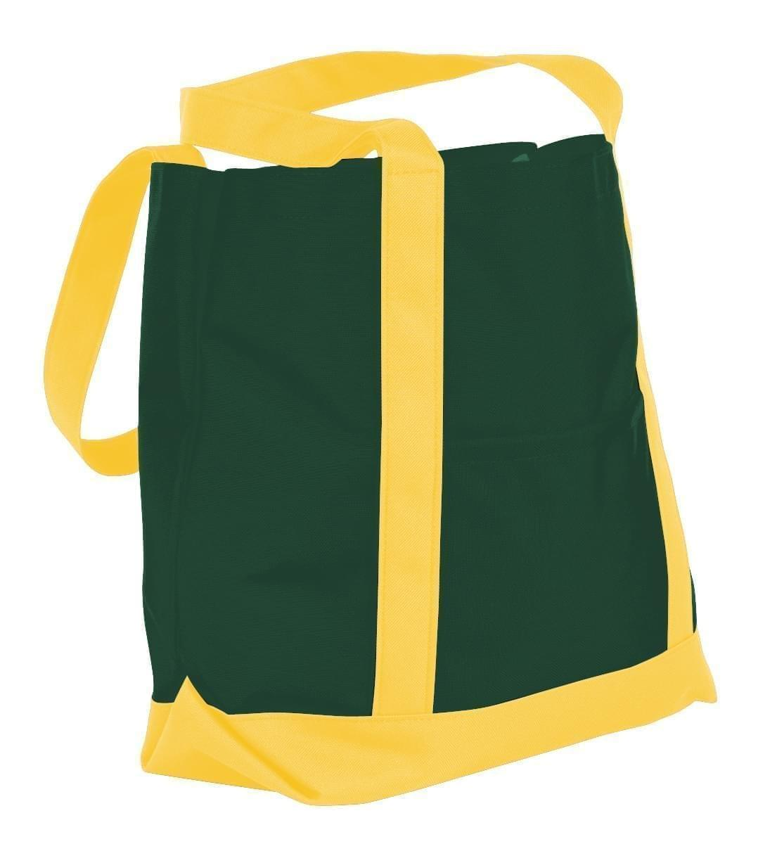 USA Made Nylon Poly Boat Tote Bags, Hunter Green-Gold, XAACL1UASQ