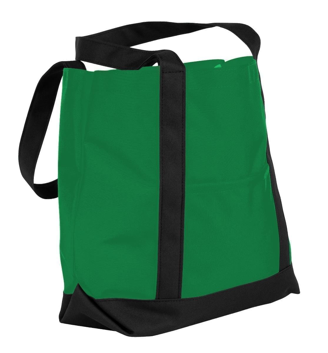 USA Made Nylon Poly Boat Tote Bags, Kelly Green-Black, XAACL1UATC