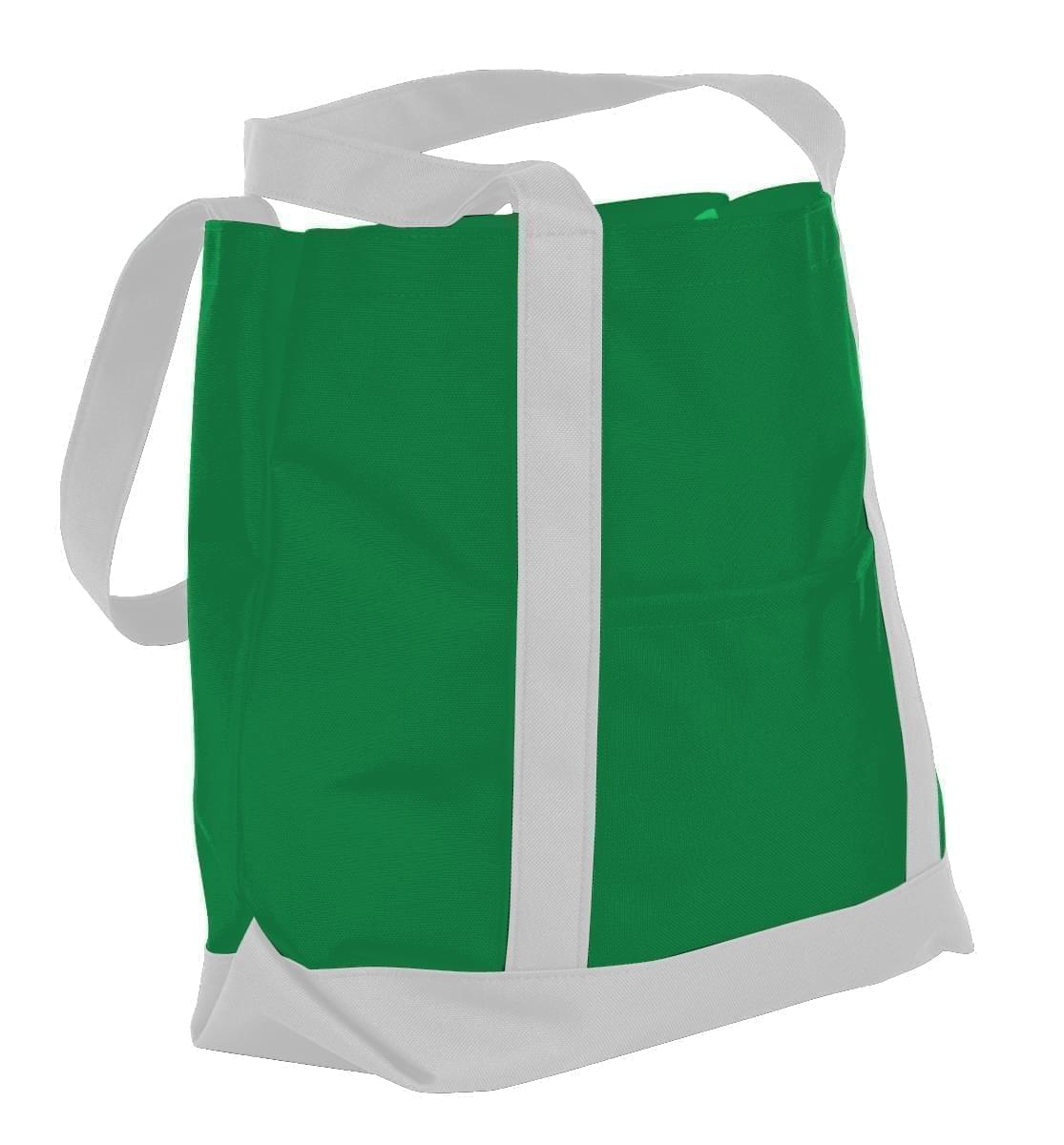 USA Made Nylon Poly Boat Tote Bags, Kelly Green-White, XAACL1UATP