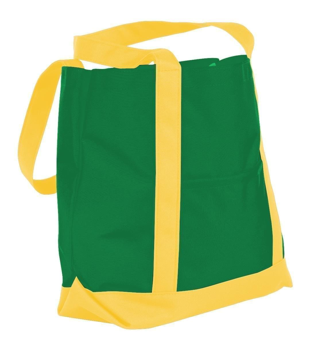USA Made Nylon Poly Boat Tote Bags, Kelly Green-Gold, XAACL1UATQ