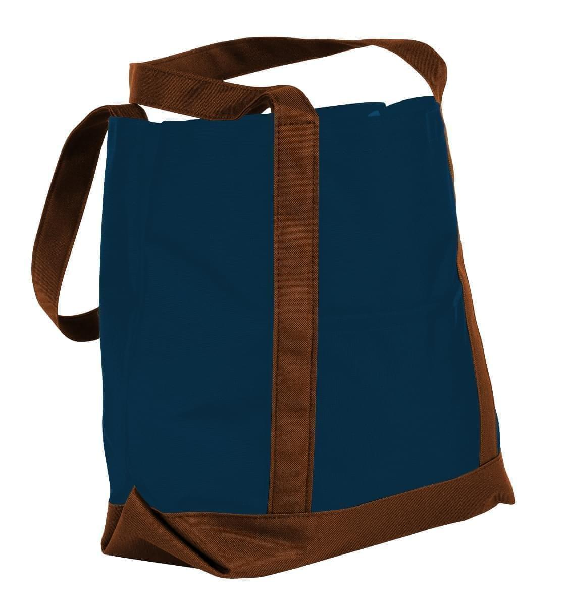 USA Made Nylon Poly Boat Tote Bags, Navy-Brown, XAACL1UAWD