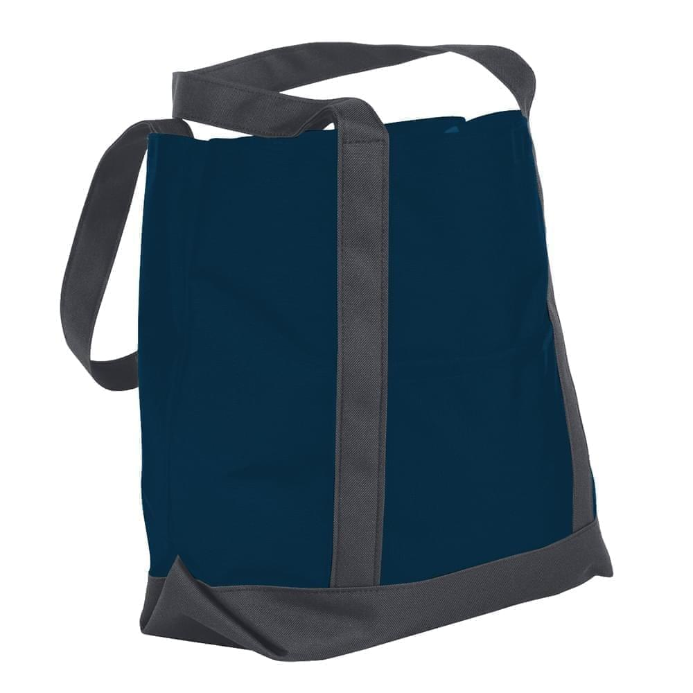 USA Made Nylon Poly Boat Tote Bags, Navy-Graphite, XAACL1UAWF