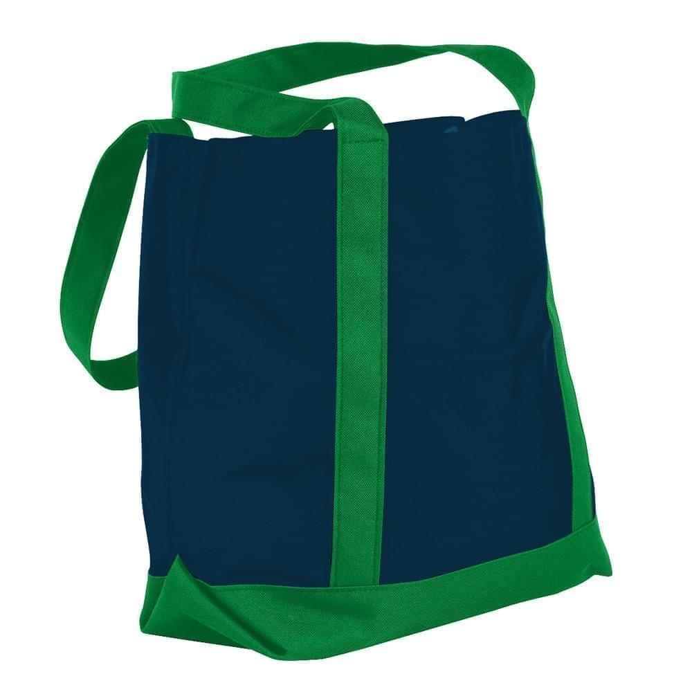 USA Made Nylon Poly Boat Tote Bags, Navy-Kelly Green, XAACL1UAWH