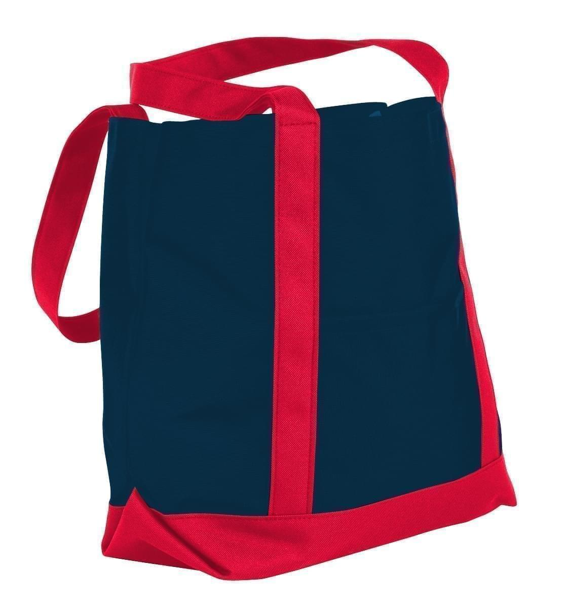 USA Made Nylon Poly Boat Tote Bags, Navy-Red, XAACL1UAWL