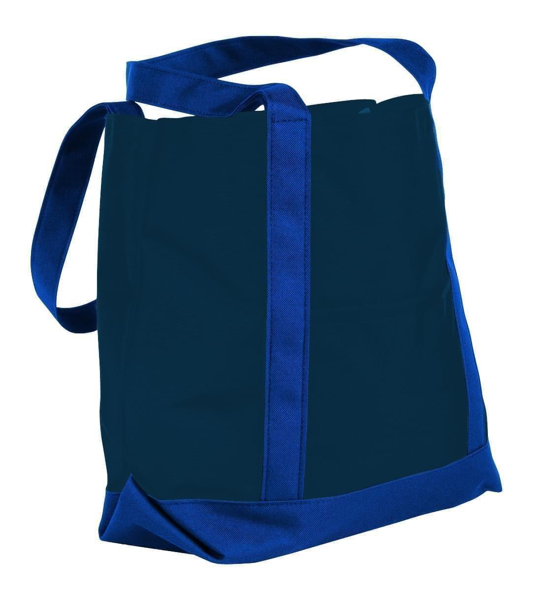 USA Made Nylon Poly Boat Tote Bags, Navy-Royal Blue, XAACL1UAWM