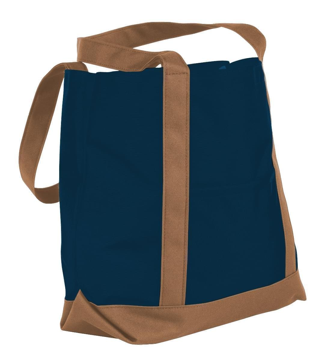 USA Made Nylon Poly Boat Tote Bags, Navy-Bronze, XAACL1UAWO
