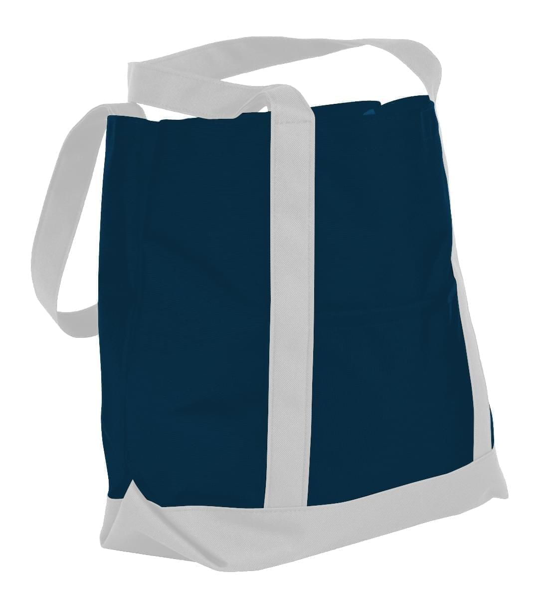 USA Made Nylon Poly Boat Tote Bags, Navy-White, XAACL1UAWP