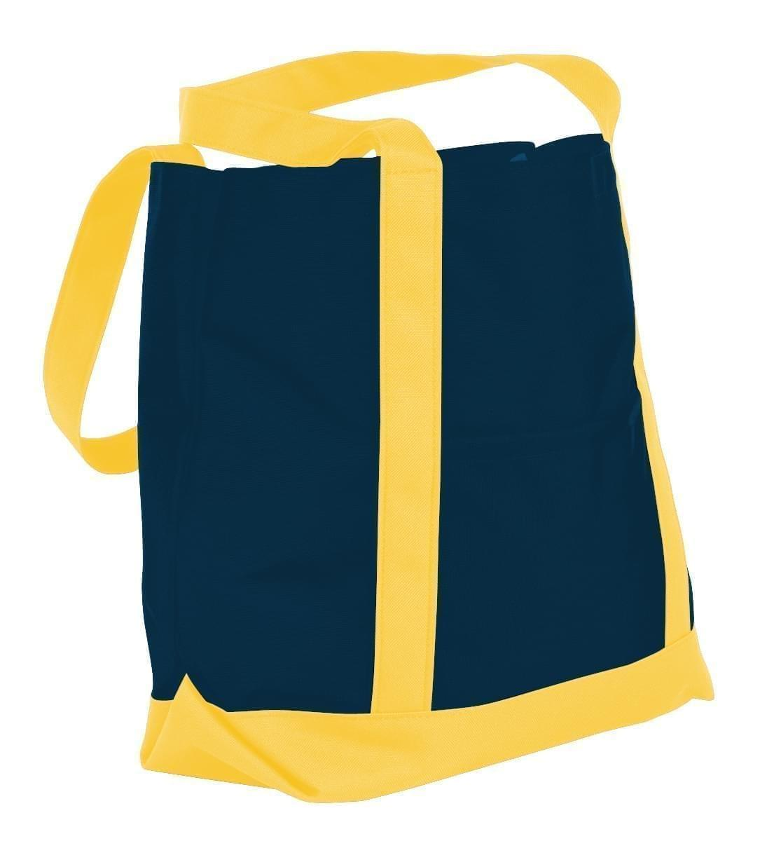 USA Made Nylon Poly Boat Tote Bags, Navy-Gold, XAACL1UAWQ