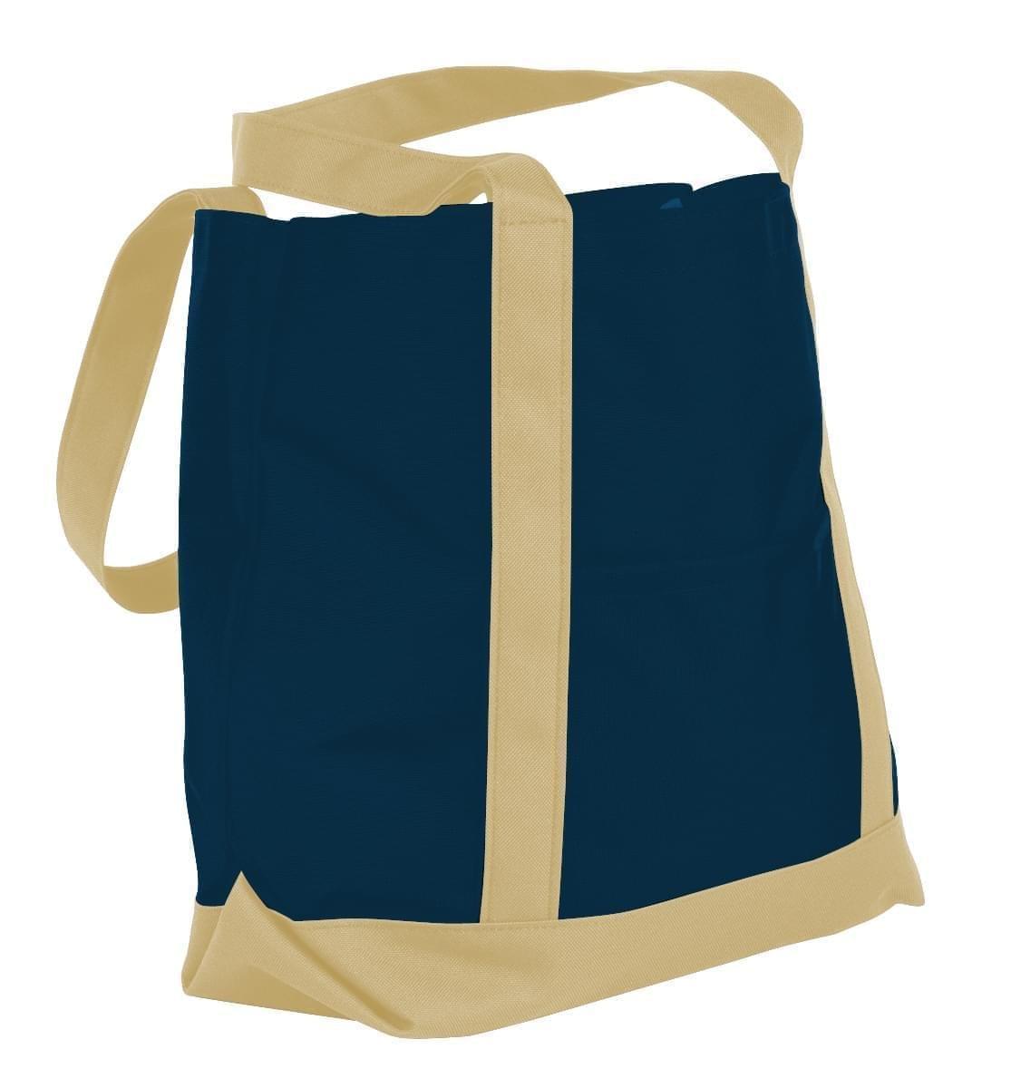 USA Made Nylon Poly Boat Tote Bags, Navy-Khaki, XAACL1UAWX