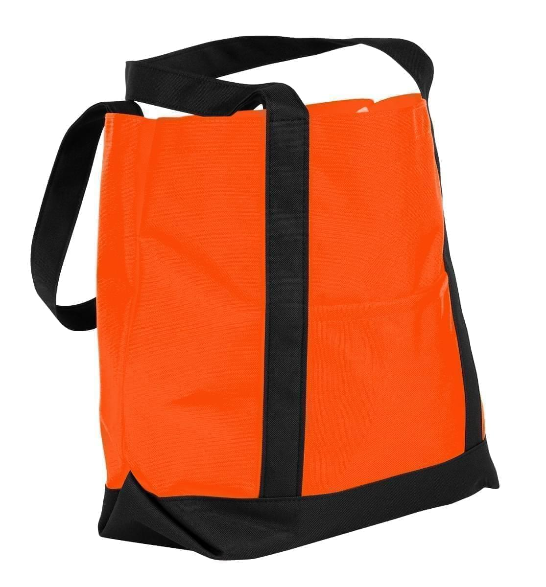 USA Made Nylon Poly Boat Tote Bags, Orange-Black, XAACL1UAXC