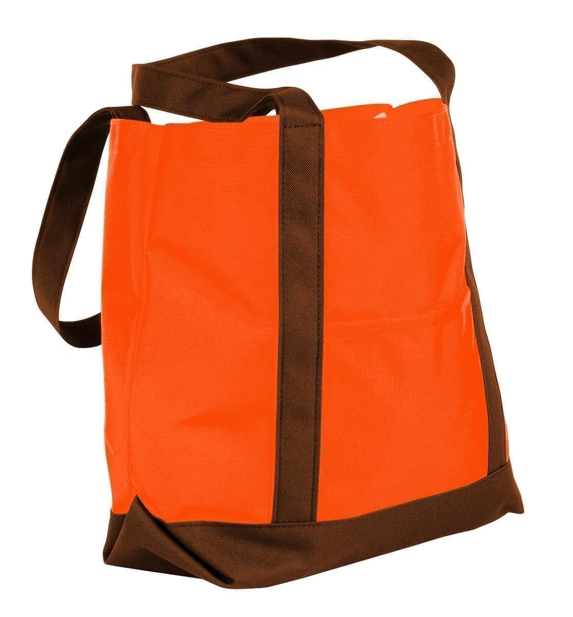 USA Made Nylon Poly Boat Tote Bags, Orange-Brown, XAACL1UAXD
