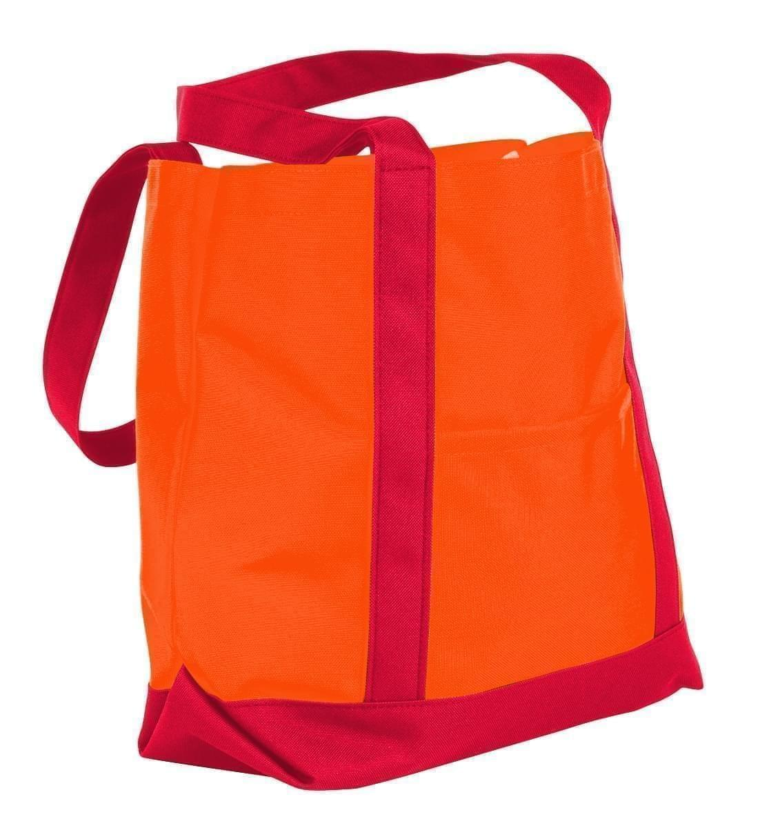 USA Made Nylon Poly Boat Tote Bags, Orange-Red, XAACL1UAXL