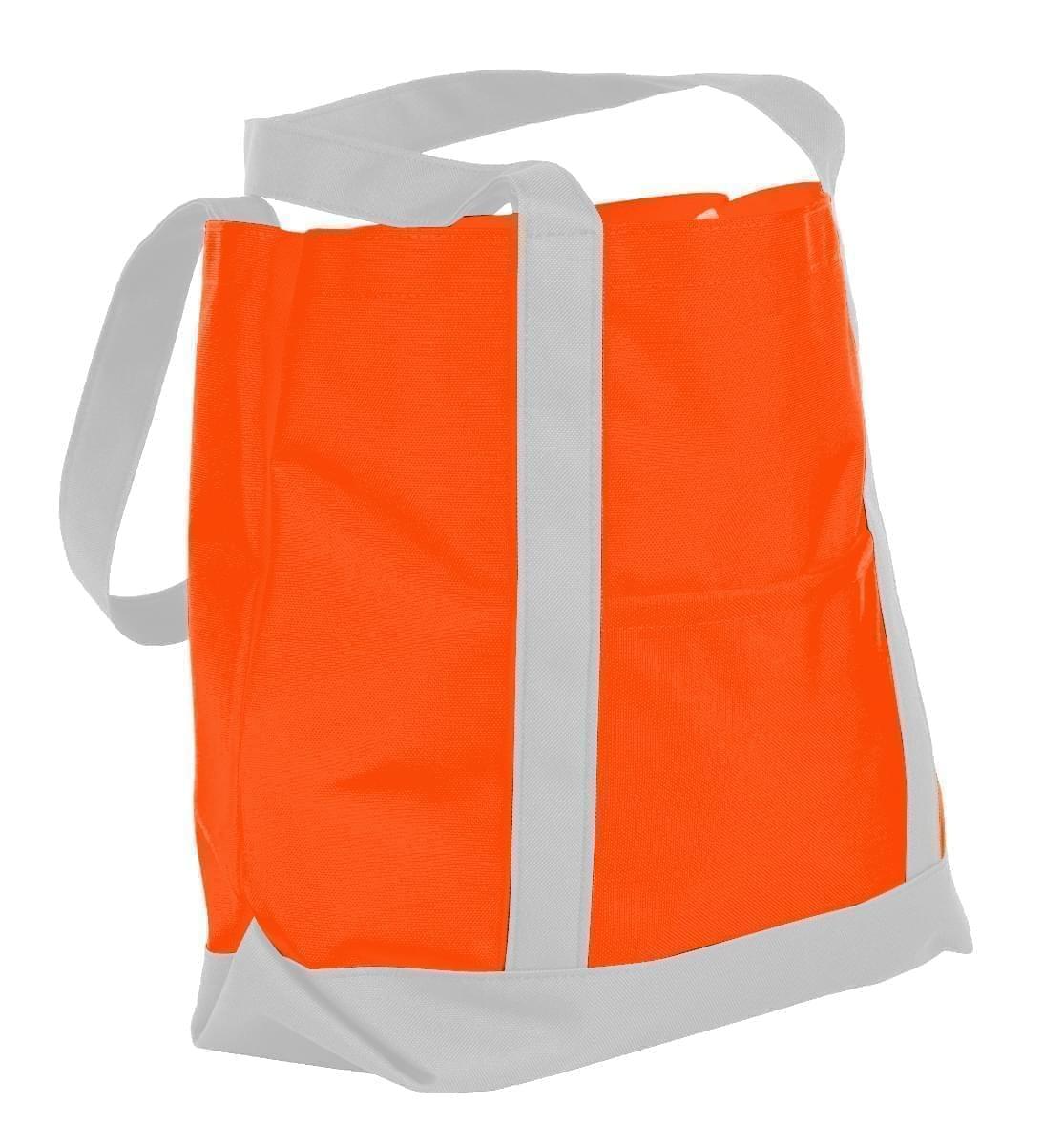 USA Made Nylon Poly Boat Tote Bags, Orange-White, XAACL1UAXP