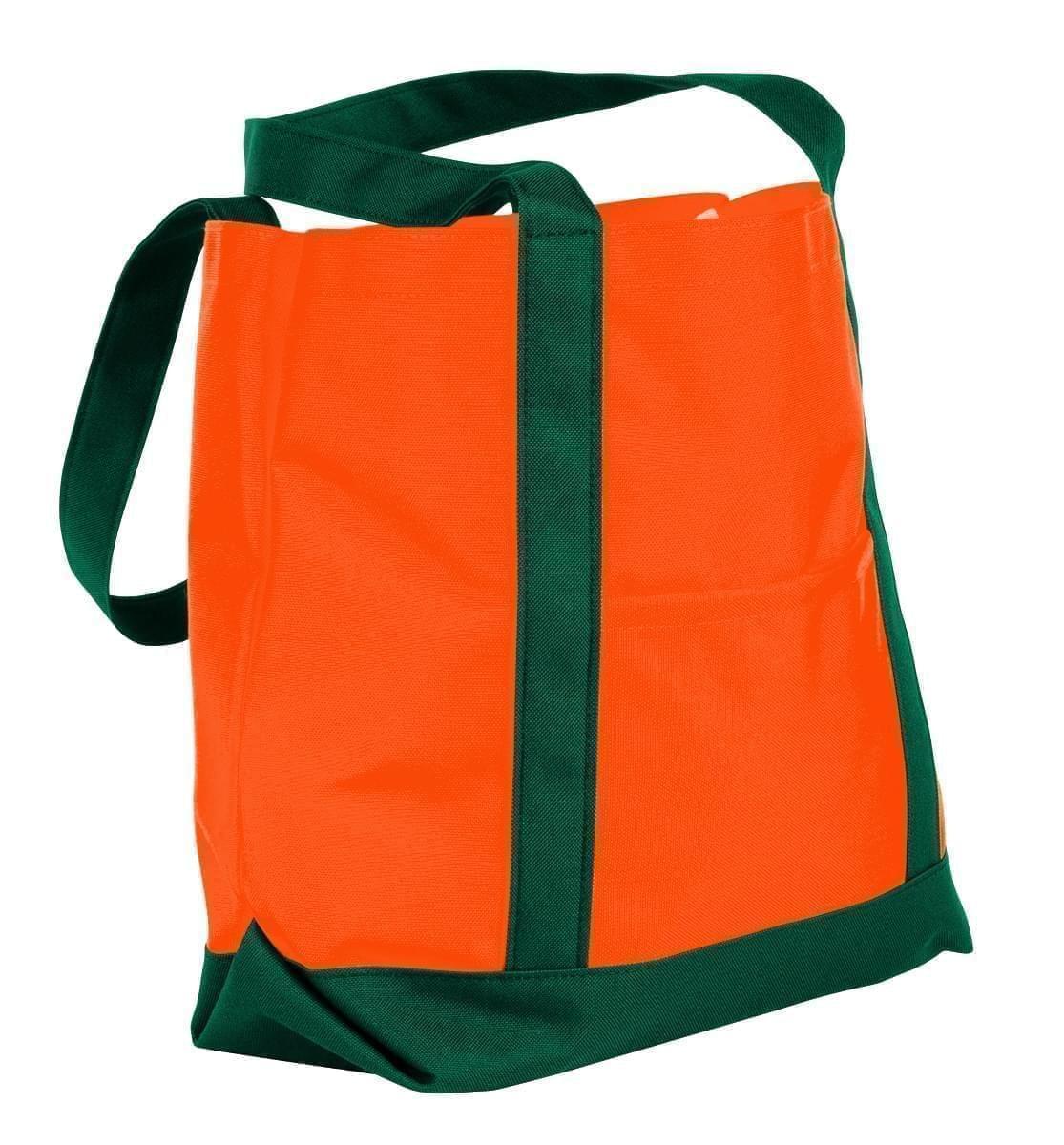 USA Made Nylon Poly Boat Tote Bags, Orange-Hunter Green, XAACL1UAXV